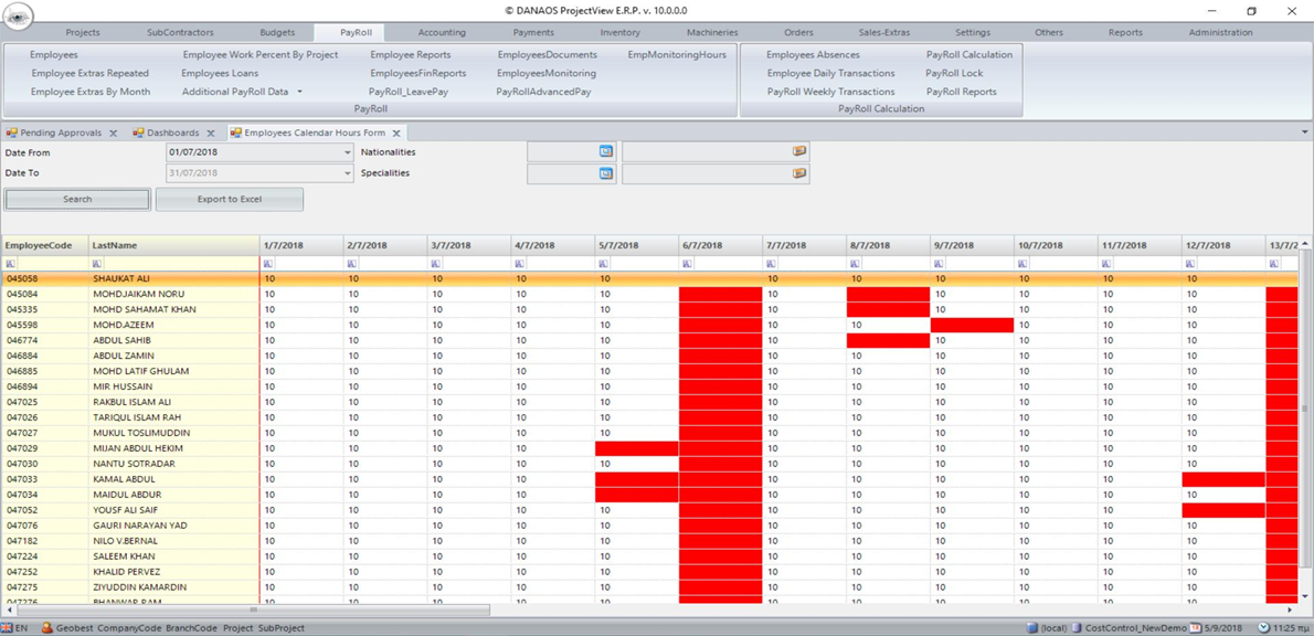 HR absences_projectview_HR and Payroll_module